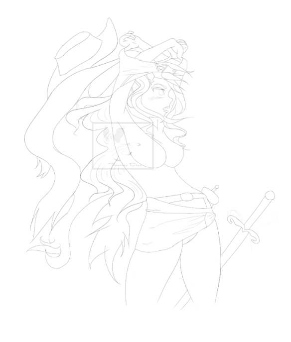 Warrior Lady of the Wasteland Lineart